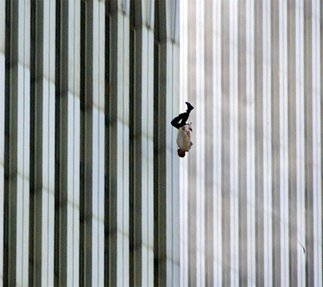 9/11: An unidentified man jumps from the North tower of WTC