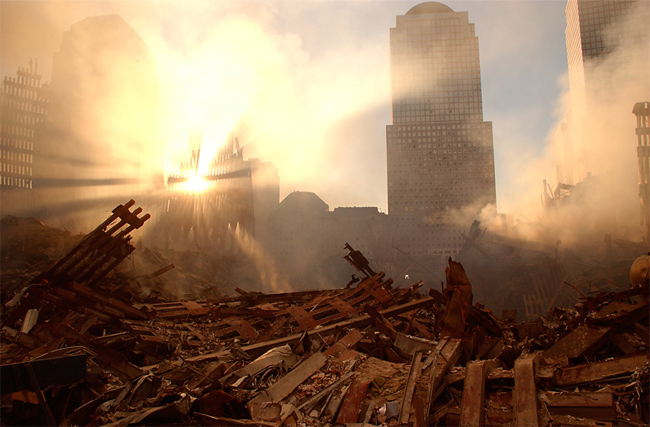 9/11: The sun streams through the dust over the wreckage